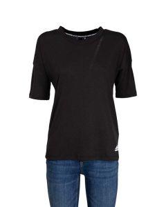 Adidas T-Shirt da Donna Nera con 3 Strisce sul Retro