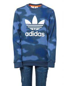 Adidas Felpa da Ragazzo con Stampa Allover Camouflage Blu