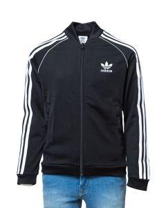 Adidas Felpa da Ragazzo Acetata Nera con Stripes