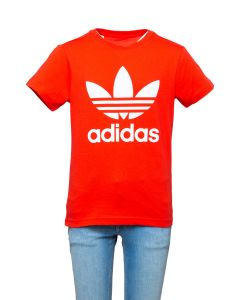 Adidas T-Shirt da Ragazzo Rossa con Logo Trefoil