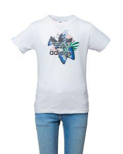 Adidas T-Shirt da Ragazza Bianca con Stampa a Fiori