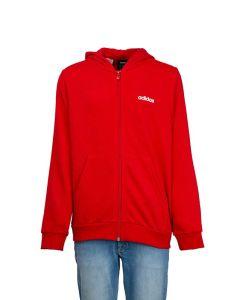 Adidas Felpa da Ragazzo Essentials Linear Rossa, Cappuccio