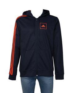 Adidas Felpa da Uomo Piqué Tre Strisce, Blu e Arancione