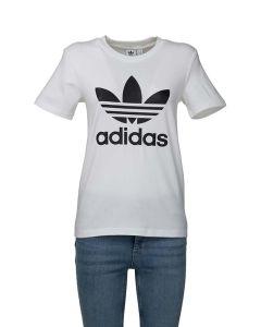 Adidas T-Shirt da Donna Elasticizzata Bianca con Trifoglio