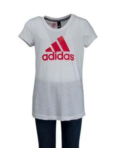 Adidas T-Shirt da Ragazza Must Haves Bianca con Logo Rosa