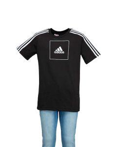 Adidas T-Shirt Junior Athletics Nera con Logo Quadrato
