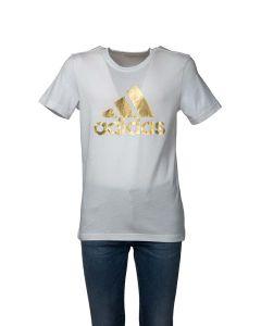 Adidas T-Shirt Uomo 8 Bit Bianca con Logo Dorato