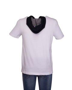 Le Coq Sportif T-Shirt Uomo con Cappuccio Jeans Bianca