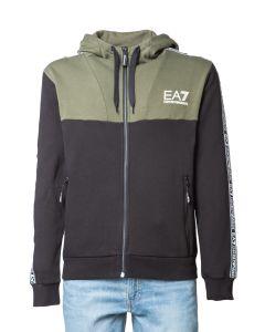 EA7 Felpa da Uomo Color Block con Zip Lunga