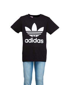Adidas T-Shirt Junior Nera con Trifoglio e Lettering