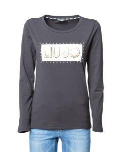 Liu Jo T-Shirt da Donna a Maniche Lunghe con Logo Big