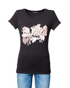Liu Jo T-Shirt da Donna con Fiori e Strass