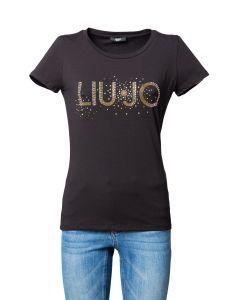 Liu Jo T-Shirt da Donna a Maniche Corte con Logo e Strass