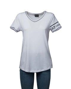 EA7 T-Shirt da Donna con Scollo a V e Logo su Manica