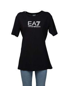 EA7 T-Shirt da Donna con Logo Lucido a Contrasto